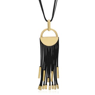 Black Vegan Leather Gold over Brass Statement Necklace|https://ak1.ostkcdn.com/images/products/10672946/P17737280.jpg?impolicy=medium