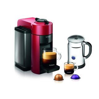Nespresso AGCC1-US-RE-NE Red VertuoLine Evoluo Coffee/Espresso Maker + Aeroccino Plus Milk Frother