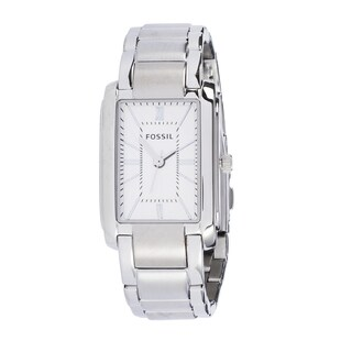 Fossil Men's PR5412 Analog Rectangle Silver Dial Silver-Tone Stainless Steel Bracelet Watch