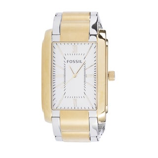Fossil Men's Analog Rectangle Champagne Dial Two-Tone Stainless Steel Bracelet Watch