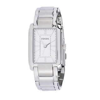 Fossil Women's PR5421 Analog Rectangle Silver Dial Silver-Tone Stainless Steel Bracelet Watch
