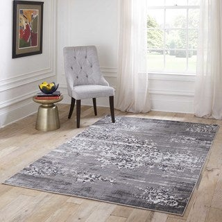 Machine Made Mardin Grey Polypropylene & Viscose Rug (7'6 x 9'6)