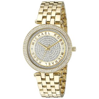 Michael Kors Women's MK3445 Mini Darci Diamond Pave Gold Dial Gold-Tone Stainless Steel Bracelet Watch