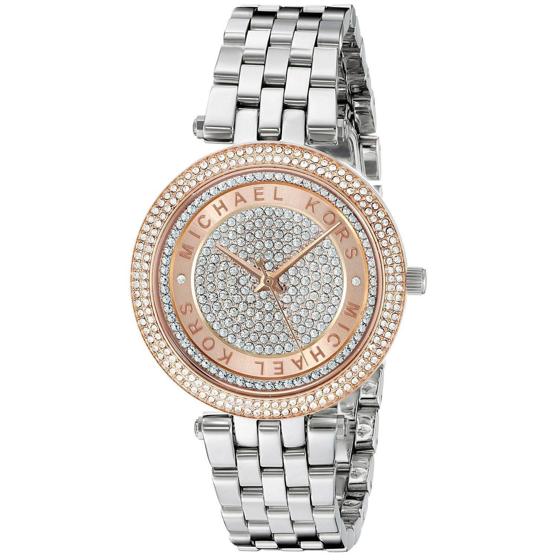 Michael Kors Womens MK3446 Mini Darci Crystal Pave Dial Stianless Steel Bracelet Watch MK3446