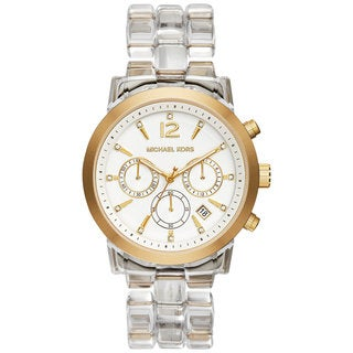 Michael Kors Women's MK6200 Audrina Diamond Chronograph White Dial Clear Acetate Bracelet Watch
