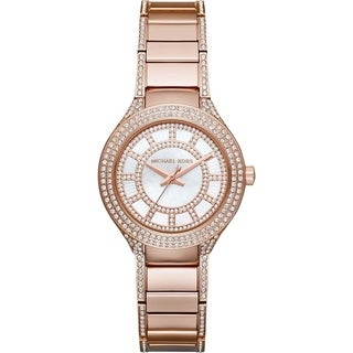 Michael Kors Women's MK3443 Mini Kerry Diamond White Dial Rose-Tone Gold Stainless Steel Bracelet Watch