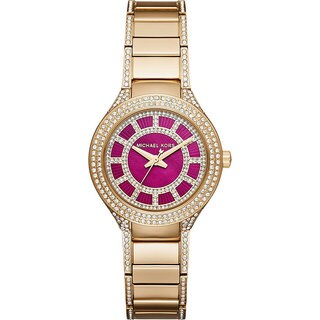 Michael Kors Women's MK3442 Mini Kerry Diamond Pink Dial Gold-Tone Stainless Steel Bracelet Watch
