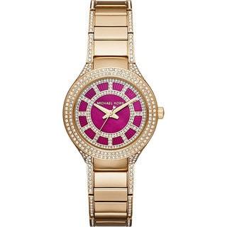 Michael Kors Women's MK3442 Mini Kerry Diamond Pink Dial Gold-Tone Stainless Steel Bracelet Watch