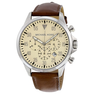 Michael Kors Men's MK8441 Gage Chronograph Beige Dial Brown Leather Watch