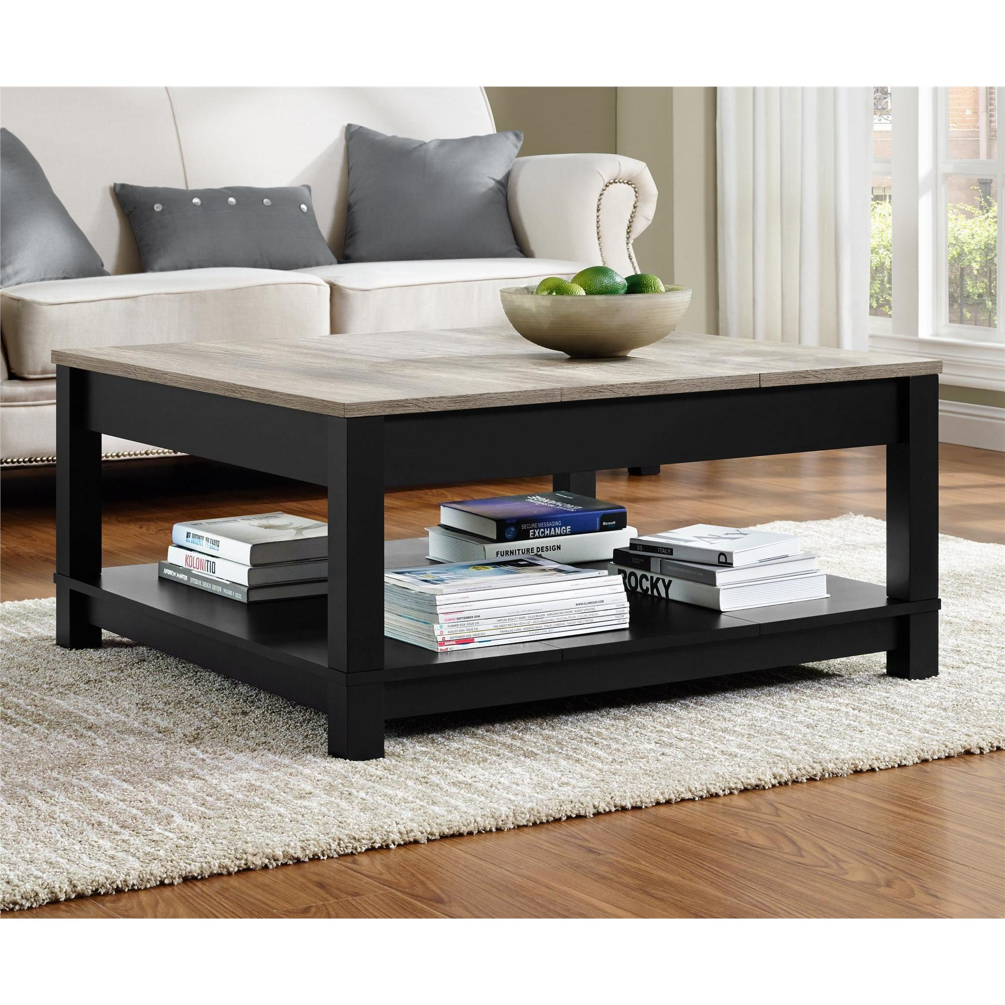 Square Distressed Finish Coffee Table Living Room Rustic Top Center Wood