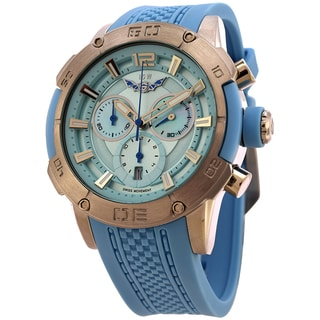 ISW Men's Fusion ISW-1002-02 Swiss Quartz Stainless Steel Watch with Blue Silicone Strap