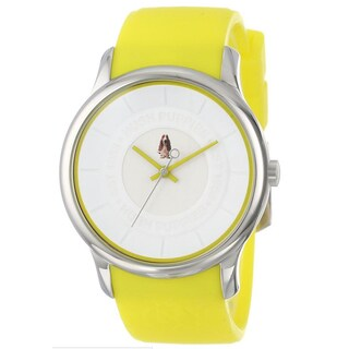 Hush Puppies Men's HP.3689M00.9501 Orbz Round Stainless Steel Yellow Silicone Strap Watch