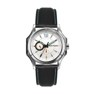 Hush Puppies Men's White Dial Black Genuine Leather Watch 7083M.2501