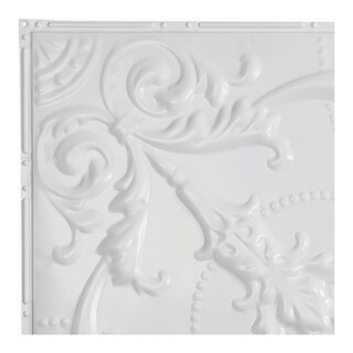 Great Lakes Tin Saginaw Matte White 2-foot x 2-foot Nail-Up Ceiling Tile (Carton of 5)