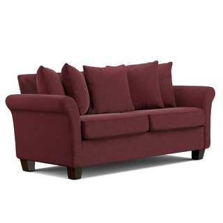 Handy Living Colfax Berry Red Chenille Pillow Back SoFast Sofa