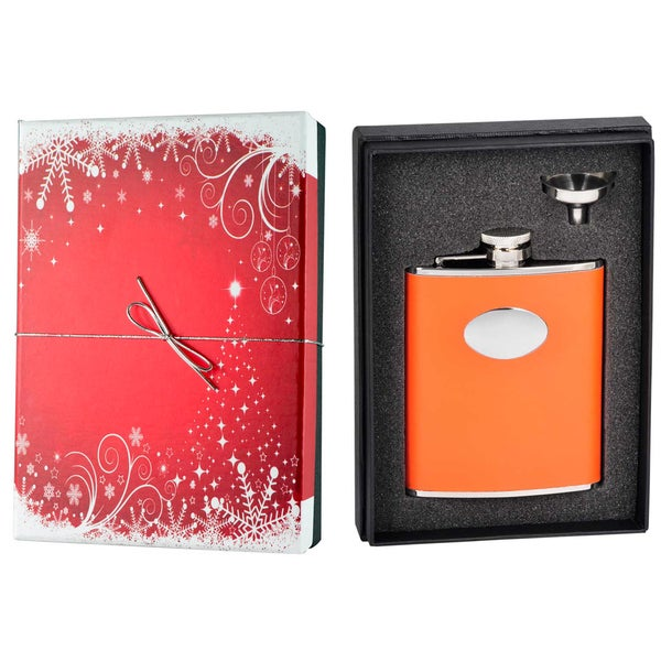 Visol  Sunbeam Orange Leather Holiday Essential Liquor Flask Gift Set - 6 ounces
