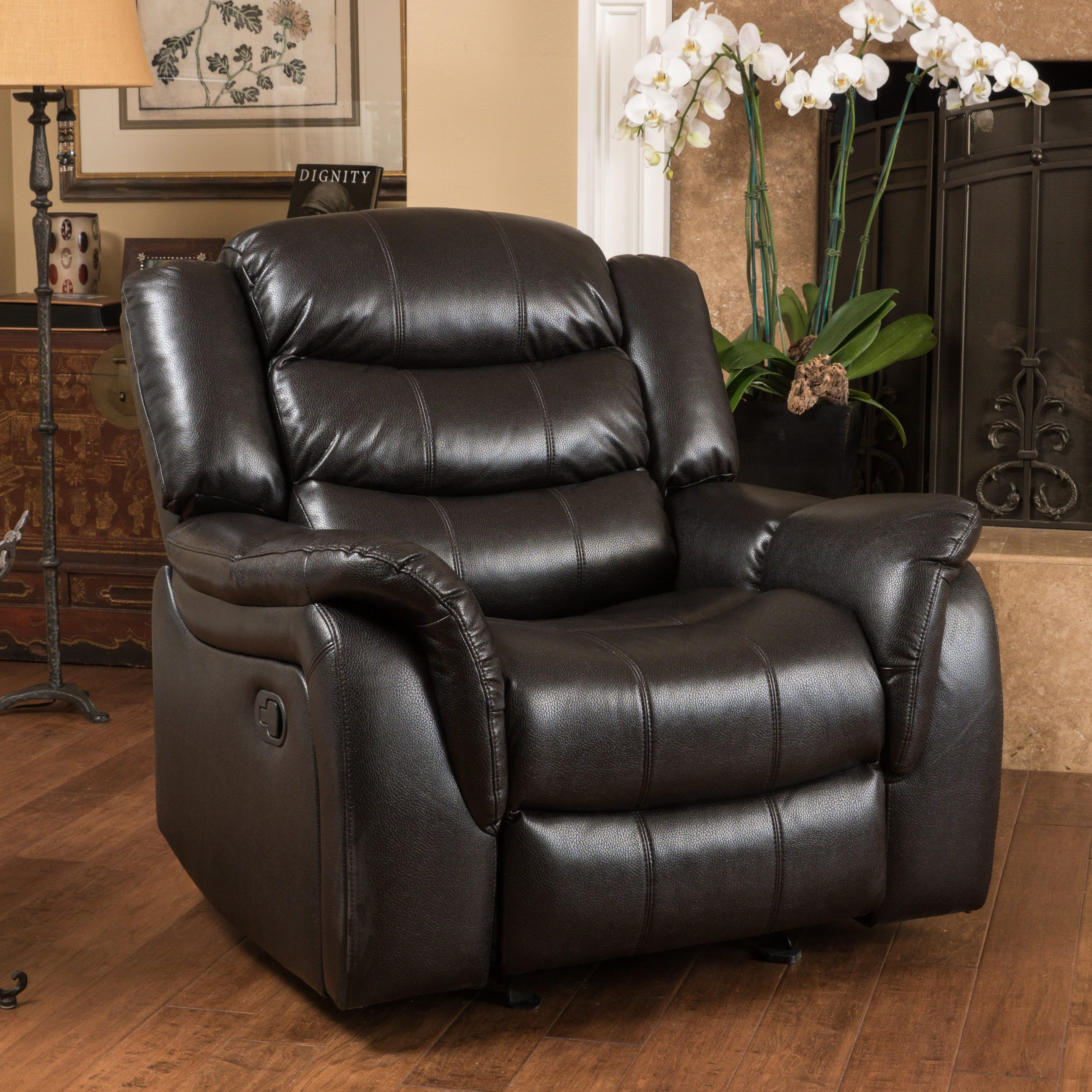 leather glider chair hawthorne pu leather glider recliner chair by christopher 16636 | Christopher Knight Home Hawthorne PU Leather Glider Recliner Club Chair 379ba187 65f8 4320 9b82 a6c3bf04bedd