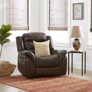 Leather Chairs Living Room Brown leather living room chairs for less overstock hawthorne pu leather glider recliner chair by christopher knight home option brown sisterspd