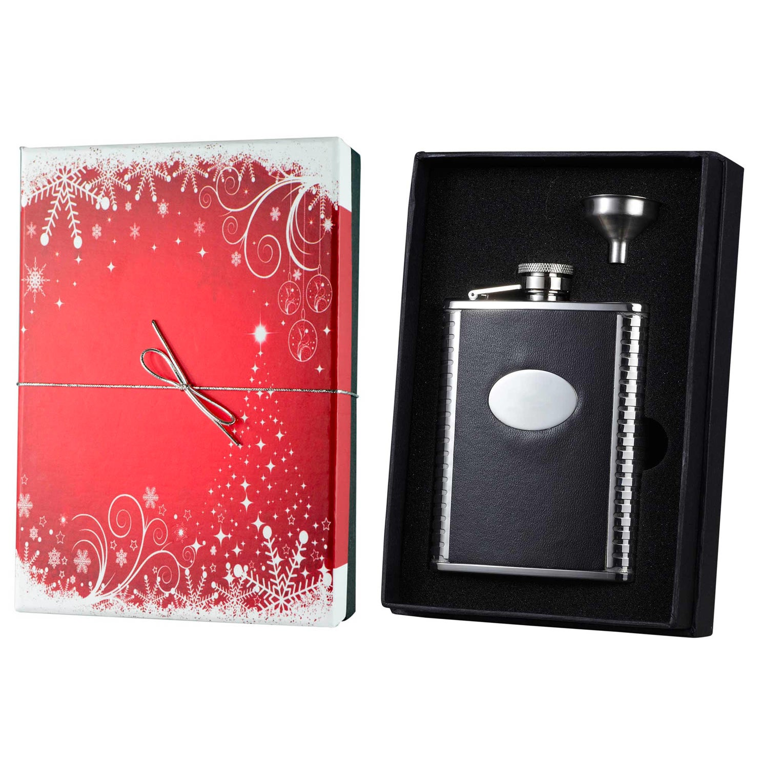 Visol Tux Bonded Leather Holiday Essential Liquor Flask G...