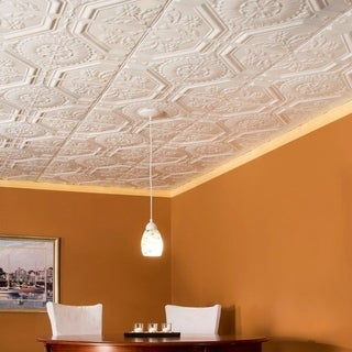 Great Lakes Tin Rochester Gloss White 2-foot x 2-foot Nail-Up Ceiling Tile (Carton of 5)