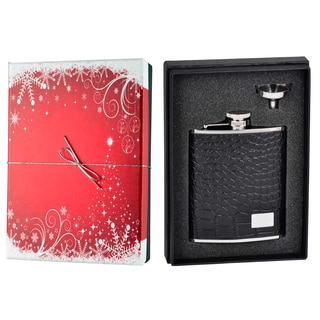 Visol Gator Black Leather Holiday Essential Liquor Flask Gift Set - 6 ounces