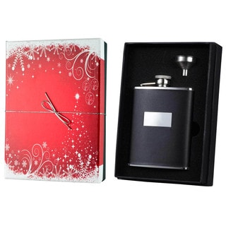 Visol Ontario Black Leather Holiday Essential Liquor Flask Gift Set - 6 ounces