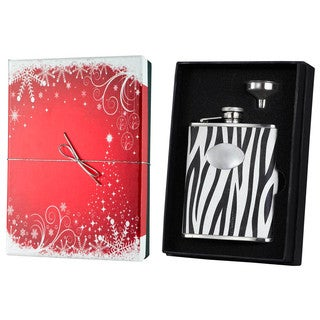 Visol Zebra Black & White Leather Holiday Essential Liquor Flask Gift Set - 6 ounces