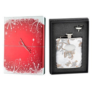 Visol Flower White Leather Holiday Essential Liquor Flask Gift Set - 6 ounces