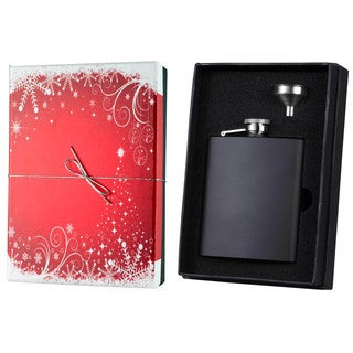 Visol Raven Black Matte Holiday Essential Liquor Flask Gift Set - 8 ounces