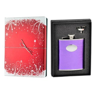 Visol Violet Satin Purple Leather Holiday Essential Liquor Flask Gift Set - 6 ounces
