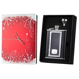 Visol SP Black Leather Flask with Built-in Cigarette Case Holiday Essential Gift Set - 6 ounces