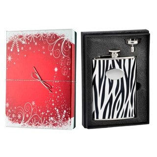 Visol  Zebra Black & White Leather Holiday Essential II Liquor Flask Gift Set - 8 ounces