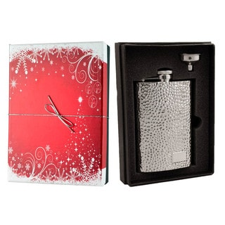 Visol Golfer Hammered Stainless Steel Holiday Essential II Liquor Flask Gift Set - 8 ounces