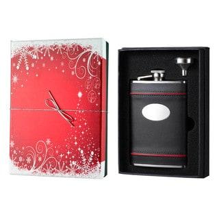 Visol Rouge en Noir Black Leather Holiday Essential II Liquor Flask Gift Set - 8 ounces