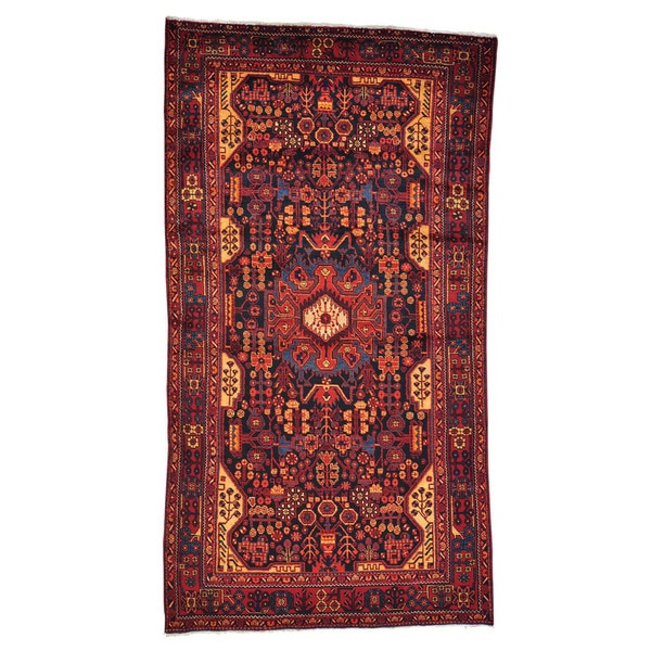 Hand-knotted Full Pile Persian Nahavand Wide Gallery Area Rug (5'5 x 10'1)