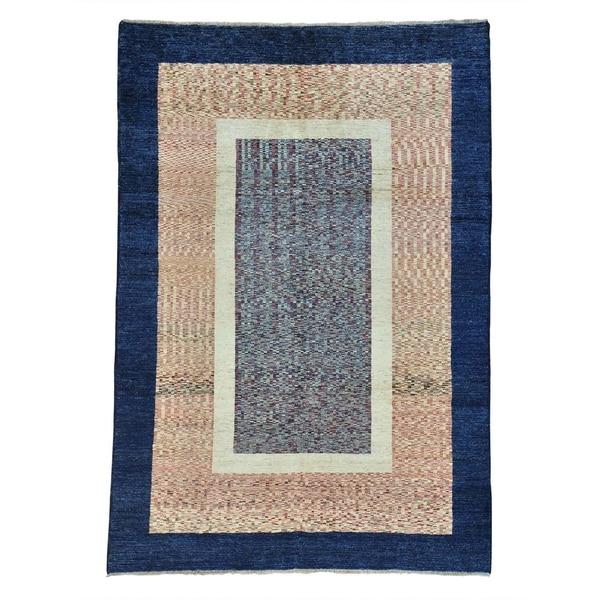 Handmade Modern Peshawar Gabbeh Pure Wool Oriental Area Rug (6'7 x 9'7) - 6'7 x 9'7