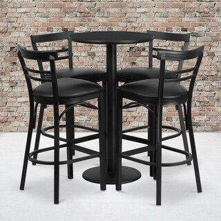 24-inch Round Black Laminate Table Set