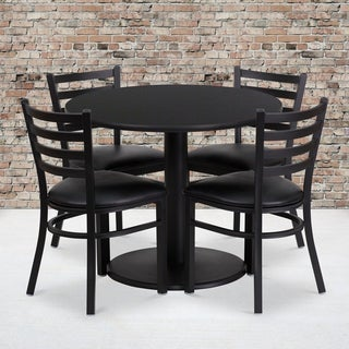 36-inch Round Black Laminate Table Set