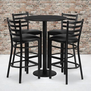 30-inch Round Black Laminate Table Set with 4 Ladder Back Metal Bar Stools