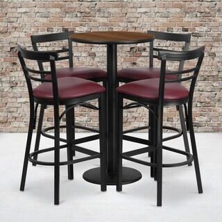 Round Walnut Laminate Table Set