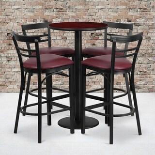 Round Mahogany Laminate Table Set