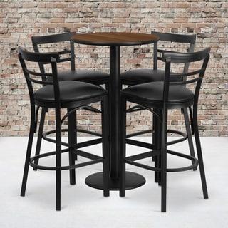 24-inch Round Walnut Laminate Table Set