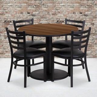 36-inch Round Walnut Laminate Table Set