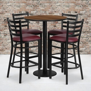 30-inch 5-piece Round Walnut Laminate Table and Stool Set