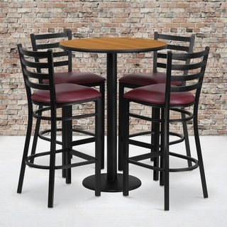 30-inch 5-piece Round Natural Laminate Table and Ladder Back Metal Bar Stools Set