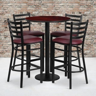 30-inch 5-piece Round Mahogany Laminate Table and Ladder Back Metal Bar Stools Set