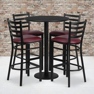 30-inch 5-piece Round Black Laminate Table and Ladder Back Metal Bar Stools Set