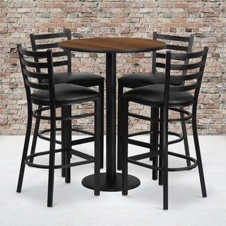 30-inch Round Table Set with 4 Ladder Back Metal Bar Stools
