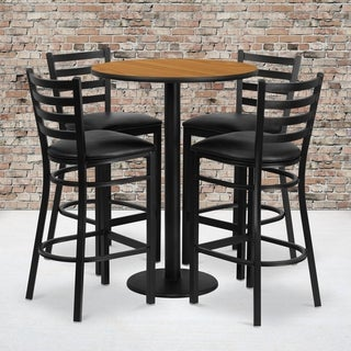 30-inch Round Natural Laminate Table Set with 4 Ladder Back Metal Bar Stools