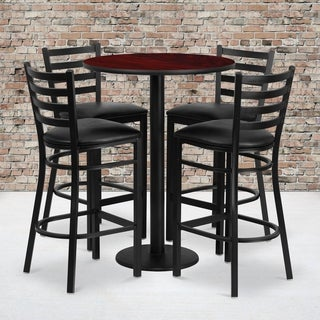 30-inch Round Mahogany Laminate Table Set with 4 Ladder Back Metal Bar Stools